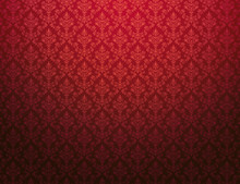 Red Wallpaper With Damask Pattern