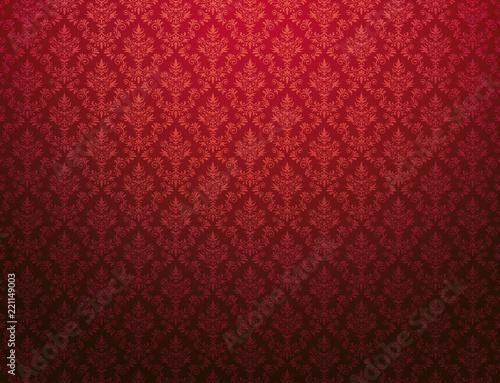 czerwona-tapeta-z-adamaszkowym-wzorem