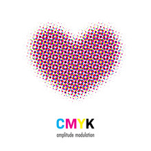 Abstract Halftone Heart Shape In CMYK Colors. Vector Illustration