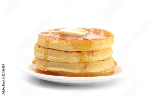 Fotografie, Obraz  Round Waffles Ready for Breakfast on a White Background
