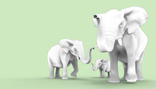 Elephant Family Groups Drawing And Background / Illustration Art Concept