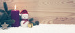 Christmas snowman and Advent candle. Christmas background.