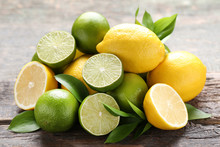 Lemons And Limes With Green Le...