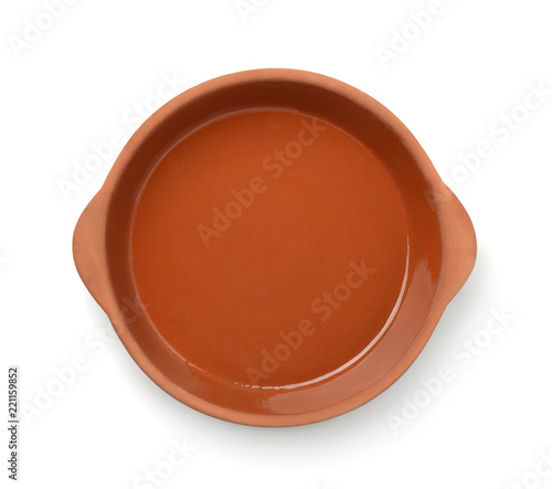 Top view of round clay baking dish