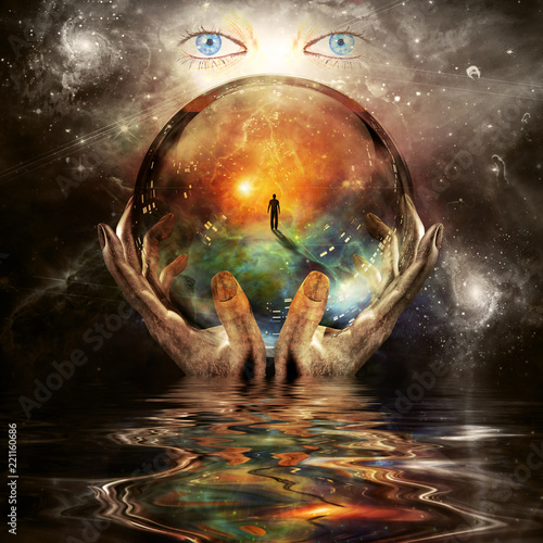 Crystal ball in hands of creator Fototapeta