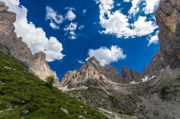 Sassolungo group in Dolomites, North Italy. Rifugio Vicenza area in Dolomiti mountains, Alto Adige, South Tyrol
