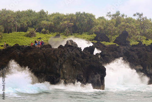 Fotografia, Obraz  Awesome Crashing Surf at the Blowhole at Waianapanapa State Park, Maui, Hawaii