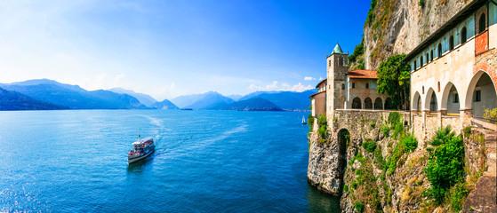 Picturesque monastery Eremo di santa Caterina in beautiful lake lago Maggiore. Italy