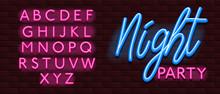 Neon Banner Alphabet Font Bricks Wall Night Party