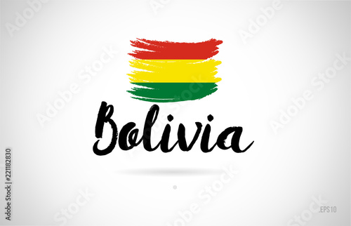 bolivia country flag concept with grunge design icon logo Wallpaper Mural