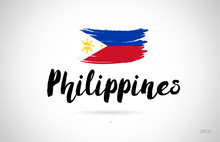 Philippines Country Flag Concept With Grunge Design Icon Logo