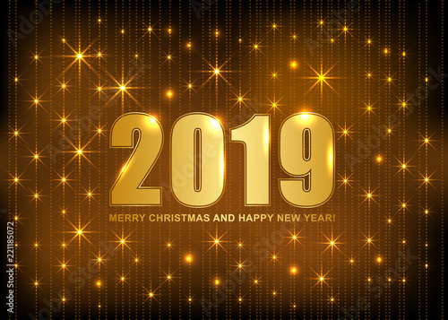 2019 merry christmas and happy new year card with gold type and lights vector illustration