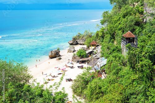 Montage in der Fensternische Karibik Beautiful tropical sand beach Blue sea sky Bali