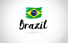 Brazil Country Flag Concept With Grunge Design Icon Logo