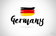 Germany Country Flag Concept With Grunge Design Icon Logo