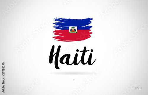 Photo haiti country flag concept with grunge design icon logo