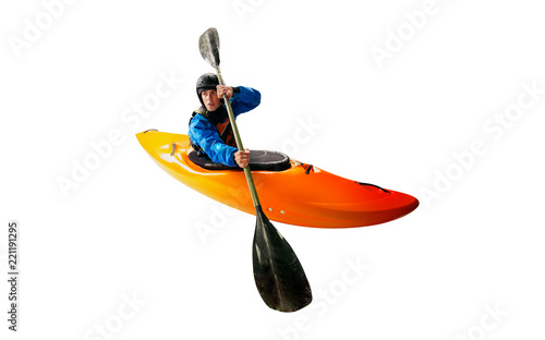 Valokuva  Whitewater kayaking isolated on white