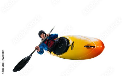 Fotografie, Obraz  Whitewater kayaking isolated on white