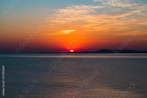 Spoed Foto op Canvas Zee zonsondergang Sunset in Punta Ballena, Uruguay. Photo taken from the Panoramic Route Carlos Páez Vilaró