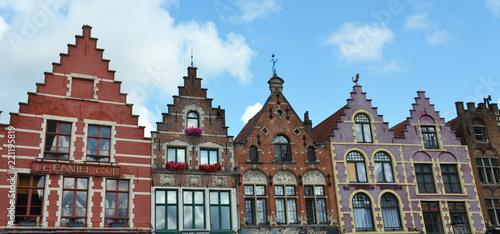 Deurstickers Brugge Bruges, Belgium - August 25, 2018: Grote Markt square in medieval city Brugge, Flanders, Belgium.