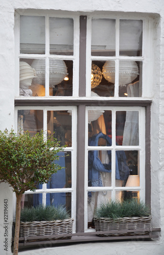 Deurstickers Brugge Old windows of small shop in Bruges, Belgium