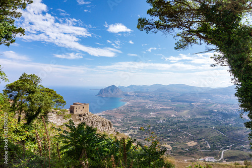 Fotografie, Obraz  Very nice, colorful view from Erice (mountain town near trapani, Sicily, Italy)