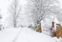Snow On British Country Road I...