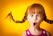 Silly Little Girl With Pigtails, Gasping