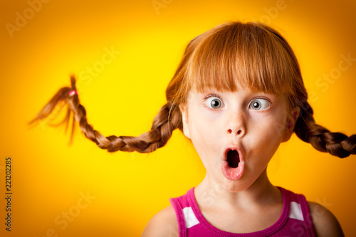 Fotografie, Obraz  Silly Little Girl with Pigtails, Gasping