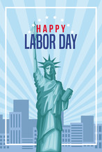 Happy Labor Day Card With Cute Cartoons Vector Illustration Graphic Design
