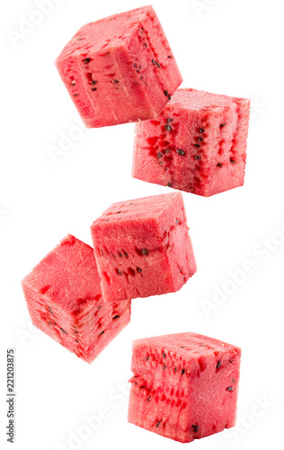 watermelon cubes isolated on a white background