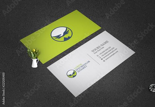 Green Business Card Layout With Bird Illustration Buy This Stock