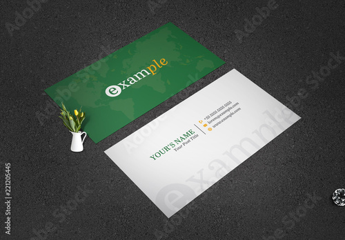 green business card layout with world map illustration - Metallic Finish Business Cards
