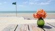 Summer holiday on beach with white and sunbeds in Thailand, Hua Hin Beach