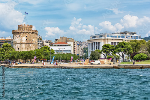 Fotobehang Theater Thessaloniki, Greece - August 16, 2018: The National Theatre of Northern Greece & Aristotle's Theatre Building and White Tower in Thessaloniki.