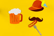 canvas print picture - Germany face silhouette with bavarian brown hat, mustache eating sousage with mustard on fork with huge glass of beer. Ads event of october beer festival in autumn october month