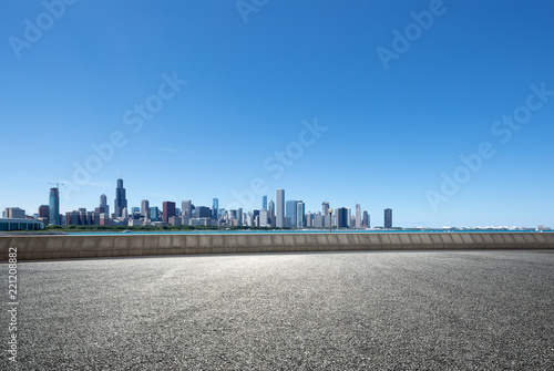 Ingelijste posters Blauwe jeans asphalt highway with modern city in chicago