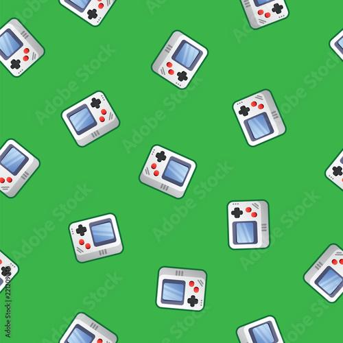 wzor-konsoli-do-gier-styl-retro-zielone-tlo-retro-wideo-gamepad-bezszwowy-wzor-konsola-joysticka-koncepcja-gry