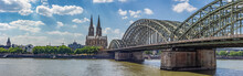 Cologne Panoramic View With Hohenzollern Bridge Over Rhine River