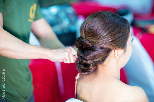 Women S Haircut Hairdresser Beauty Salon Soft And Blur Style For Background Blur Image Of People At Haircut Shop Stylist Makes Makeup Bride On The Wedding Day Buy This Stock Photo And Explore Similar Images