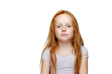 Serious Little Girl Isolated On White