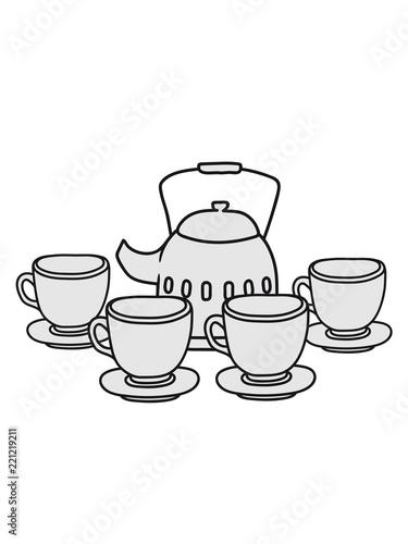 Party Freunde Kuchen Servieren Glas Tasse Tee Kanne Kaffee Trinken