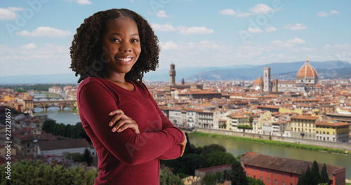Fotobehang Florence Black female looks at gorgeous view of Florence cityscape smiling at camera