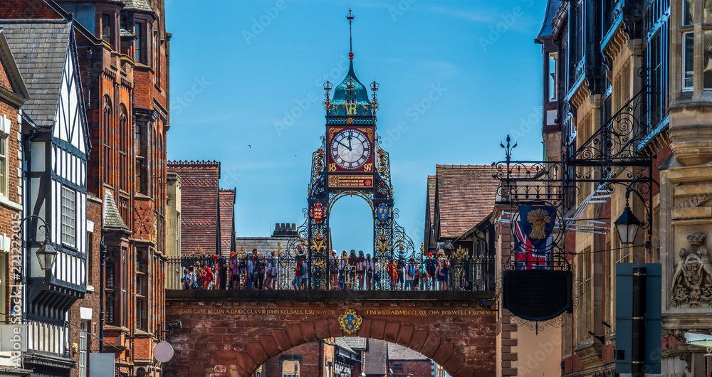 Fototapety, obrazy: Eastgate and Eastgate Clock, Chester, UK