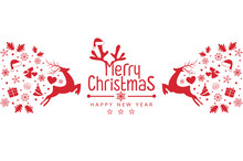 Merry Christmas Background With Christmas Red Balls, Snowflakes, On White Background