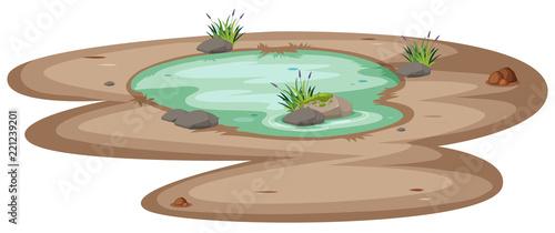 Fotografia A small pond on white background