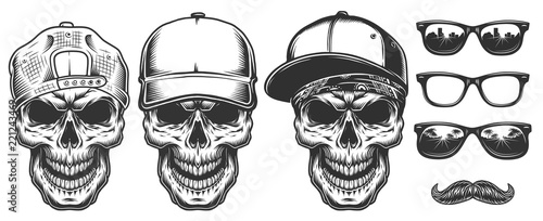 Fotografie, Obraz Set of skull in cap