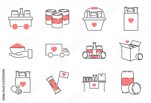 Canvastavla Food drive outline icon collection set