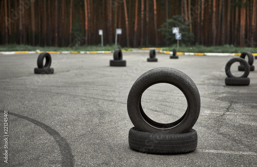 Fotografiet  autodrome for driving training, large area for road signs, training elements and