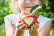 Leinwanddruck Bild - Child with an apple. Selective focus. Garden.